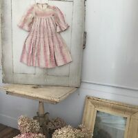 Baby Dress antique doll 19th clothing clothes pink vintage nursery Primitive