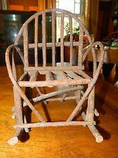 doll bear rocking chair hand home made vine type wood display primitive country