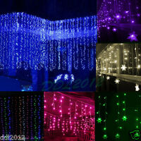 3M*3M 300 LED Indoor Outdoor Curtain Fairy Light String Xmas Wedding Party Decor
