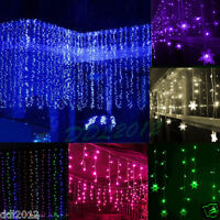 3M*3M 300 LED Indoor Outdoor Curtain Fairy Light String Wedding Party Lamp Decor