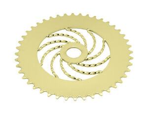 """Bicycle Twisted Chainring Sprocket 1/8"""" x 44T Gold Cruiser Lowrider Bikes"""