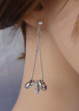 ELEGANTE Orecchini argento anelli strass ,cristalli ,donna,idea regalo