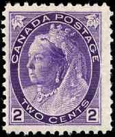 Canada #76 mint F-VF OG NH 1898 Queen Victoria 2c purple Numeral CV$127.50