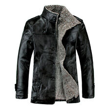 Winter Fashion Mens Warm Jacket Leather Coat Fur Parka Fleece Jacket Slim Coat