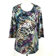 Women 3/4 Sleeve Tunic Long Top 14 Multicoloured Scoop Neck Casual Hippie Hippy