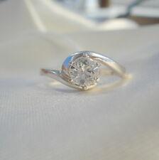 0.70 KT Rotondo Bianco Brillante Zircone Solitario * Anello D'Argento