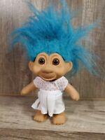 "Vintage 1991 TNT Turquoise Blue Hair Troll Doll 4.5"""
