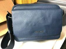 Michael Kors Cooper Men's Flap Messenger Flight Camera Bag Pebbled Leather Navy