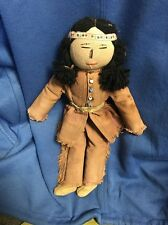 Antique Native American Or Plains Indian Buckskin, Beaded & Cloth Doll 14""
