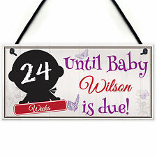 Personalised Chalkboard Countdown Baby Due Pregnancy Hanging Plaque Gift Sign