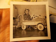 VINT SNAPSHOT PHOTO CUTE BOY IN HIS HOOK & LADDER FIRE TRUCK PEDDLE CAR