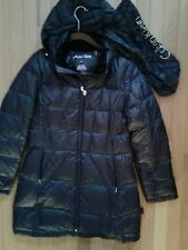 LADIES BLACK PACKABLE LIGHTWEIGHT PREMIUM DOWN COAT WITH HOOD-SIZE M