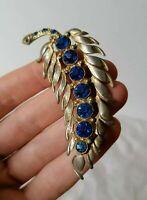 Vintage 40s 50s Sapphire Blue Crystal Fern Leaf Retro Gold Tone Pin Brooch