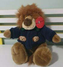 AURORA LION PLUSH TOY WEARING BLUE JACKET WITH LION HEADS STUFFED ANIMAL 35CM