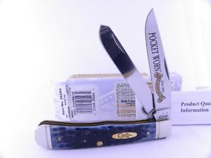 Case 2016 Denim Pocket Worn Jigged Bone Trapper Folding Pocket Knife 26293