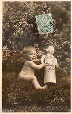 BL050 Carte Photo vintage card RPPC Enfant bébé poupée marionnette unusual