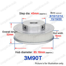 3M90T Timing Belt Pulley 90 Teeth Gear 8-20mm Bore 3mm Pitch for 15mm Wide Belt