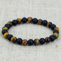 Men Tiger Eye Matte Onyx Mala Stone Yoga Beaded Bracelet Energy Viking Jewelry