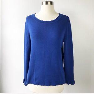 Halogen Royal Blue Scalloped Crew Sweater Preppy Women Size Petite Large LP PL
