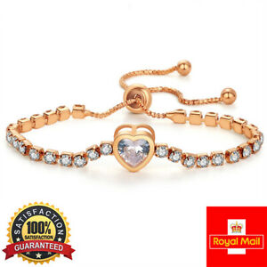 ROSE GOLD FILLED HEART TENNIS Bracelet Made With SWAROVSKI CRYSTALS ADJUSTABLE