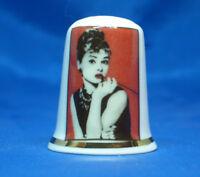 Birchcroft China Thimble -- Film Stars -- Audrey Hepburn Icon - Dome Gift Box