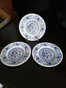 """3 ENOCH WEDGWOOD TUNSTALL BLUE HERITAGE ONION PLATES BREAD & BUTTER 6 1/4"""" ROUND"""