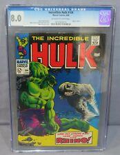 INCREDIBLE HULK #104 (vs Rhino) CGC 8.0 VF Marvel Comics 1968