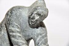 Carved Alaskan Art Eskimo Hunter Over Seal Stone Sculpture w'Wood Base RARE