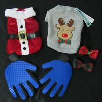 Dog lot size s, santa costume reindeer sweater and grooming gloves. Christmas