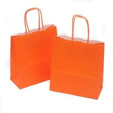 100 x Orange Gift Paper Bags with Twisted Handle - 18cm x 22cm x 8cm (SMALL)