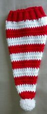 Hand Knit infant Santa Hat  - red and white striped Christmas hat, infant size
