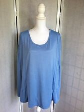 Cato Womens Plus Size 22/24 Blue 3/4 Sleeve Pull Over Ruffle Hem Blouse NWT