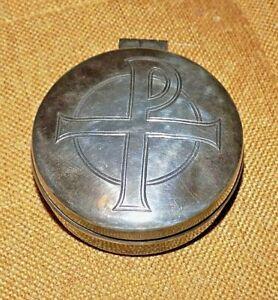 Vintage Catholic Pyx Holy Communion Wafer Sterling Silver Box Hayes & Finch 1974