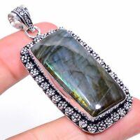 "Labradorite Gemstone Handmade Ethnic Gift Jewelry Pendant 2.44"" VK-2393"