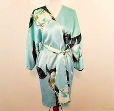 Natori Robe Medium Blue Black Floral Kimono Satin Wrap Tie Waist Rare Free Ship