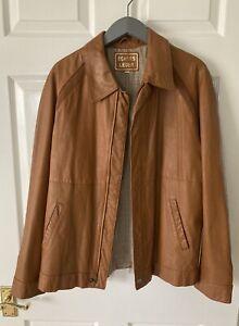ECHTES LEDER - GREAT CONDITION! Genuine Nappa Leather Tan Vintage Jacket, Large