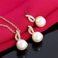 Fashion Wedding Bride Jewelry Set 18K Gold Plated Crystal Pearl Necklace Earring