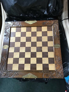 chinese chess set in wooden fold up case
