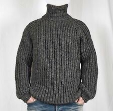 Hand Knitted 100% WOOL Pullover Men Sweater Turtleneck SOFT Jumper
