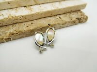 Vintage Mother Of Pearl Silver Tone Rhinestone Ear Climber Clip On Earrings OO33
