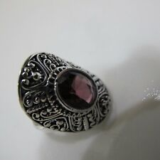 AMAZING LARGE SILVER PLATED VIOLET AMETHYST STONE ORNATE RING SIZE 6,5-7
