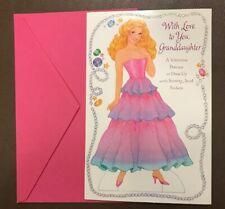 American Greetings Paper Doll Sticker Valentine Princess Card Unused w Envelope