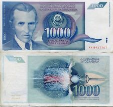 Yugoslavia 1000 Dinar Dinara 1991 Communist Currency Money Banknote Tesla EF XF
