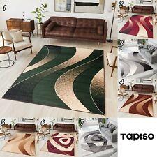 Kurzflor Teppich Modern Designer Beige Rot Schwarz Mehrfarbig Teppich Streifen