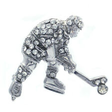 Ice Hockey Skate Player Puck Brooch Pin Clear Crystal Silver Tone Sport Jewelry