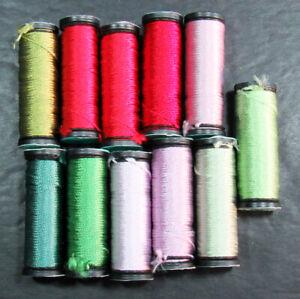 11x Needlepoint/Embroidery THREAD KREINIK Silk Serica 3 ply silk-mixed-XW33