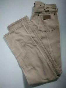 WRANGLER mens size 32 X 36 jeans 13MWZTN tan straight leg cowboy cut 100% cotton