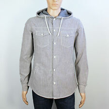 Next Mens Size M Blue White Stripe Hoody Long Sleeve Shirt