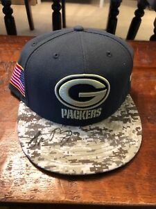 Aaron Rodgers Signed Green Bay Packers New Era Military USA Hat Psa Dna Coa