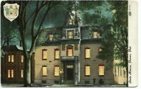 Vintage Post Card c.1930'S Dover Del. State House Gas Light Night